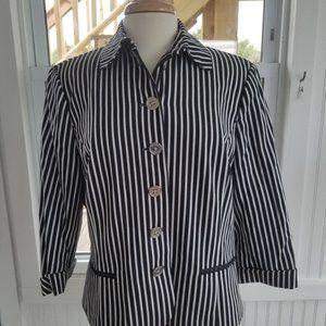 Vintage Blue and White Striped Blazer by Chaps XL